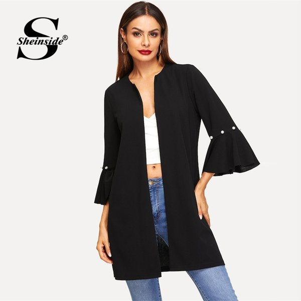 Sheinside Black Pearls Beaded Flounce Sleeve Open Stitch Coat Women Spring Casual Minimalist Solid Longline Coats And Jackets