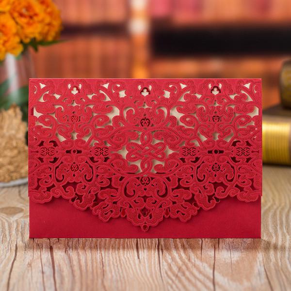 Compre 50 Unids Lote Encaje De Lujo Floral Invitaciones De Boda Tarjeta Con Sobres Corte Láser Rojo Blanco Personalizar Imprimir Invitaciones De