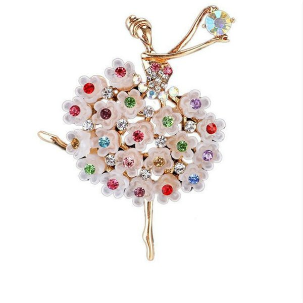 Fashion Multicolor Crystals Pretty Flower Skirt Ballet Dancing Girl Shinning Brooches for Woman in assorted designs