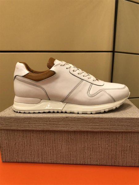 Genuine leather high quality hot sale in 2019 spring autumn men sneakers new designer luxury shoes outdoor sports party dress size 38-45