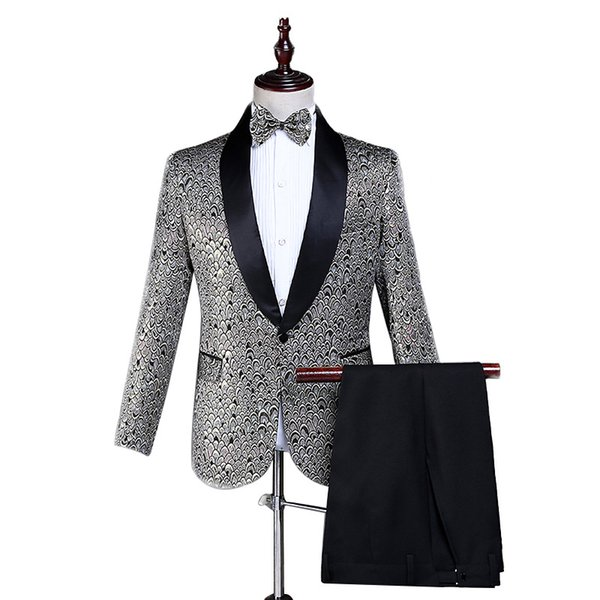 Men's suit new hot sale printing casual single button men's suit two-piece suit (jacket + pants) men's formal banquet dress