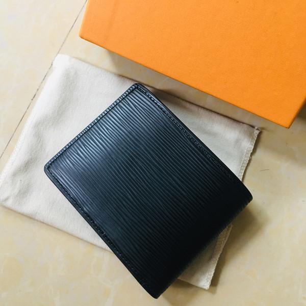 Hochwertige klassische echtes Leder Herren Geldbörse mit Box Marke Echtes Leder Quadrat Brieftasche Geldbörse Datum kurze Brieftasche Kartenhalter m63514