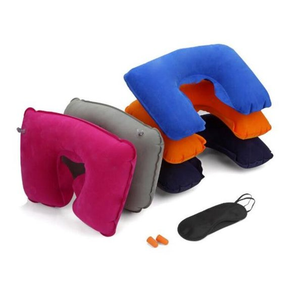 2018 Travel Set 3PCS U-Shaped Inflatable Travel Pillow Eye Cover Earplugs Neck Rest U Shaped Neck Pillow Air Cushion LX4930