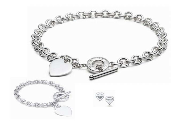High Quality Celebrity design Letter 925 Love Silver Ring bracelet Earrings necklace Silverware Metal Heart-shaped Jewelery Set 3pc With Box