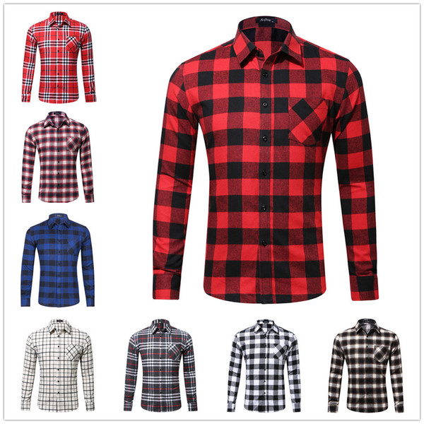 Men Plaid Shirt Spring Flannel Casual Pocket Shirt Men Shirts Long Sleeve Chemise Homme Cotton Male Check Shirts