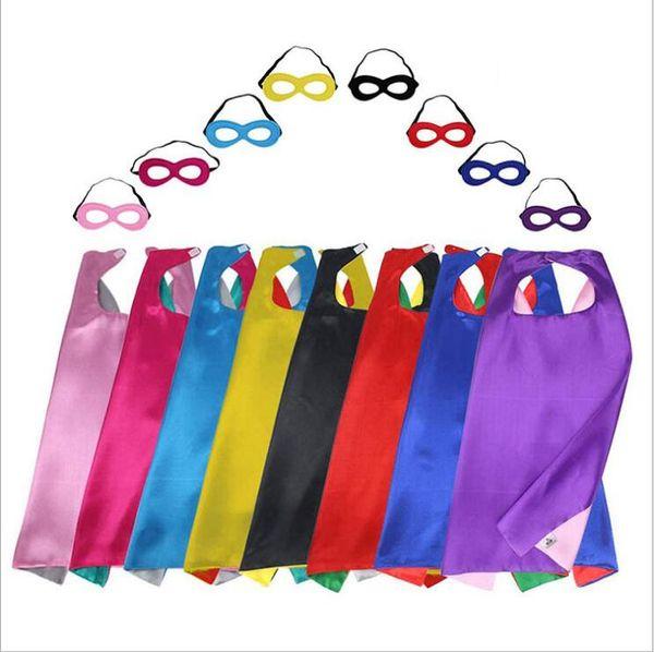 70 * 70 cm super hero cape maske sets kinder halloween mantel maskerade weihnachten cosplay prop kostüme party cartoon poncho double side a5231