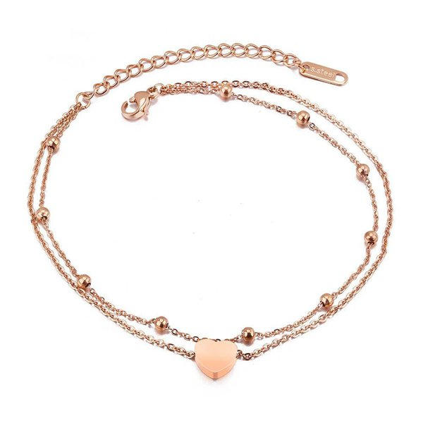 Fashion Bohemia Double Layer Stainless Steel Heart Charm Bracelets For Women Rose Gold Chain & Link Bracelet