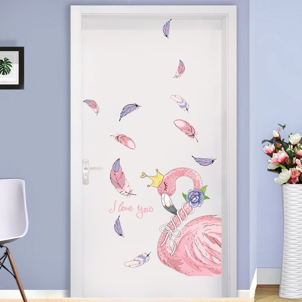 SHIJUEHEZI] Nice Flamingo Wall Stickers DIY Bird Animals Feathers Mural Decals for Living Room Baby Bedroom House Decoration [SHIJUEHEZI]...