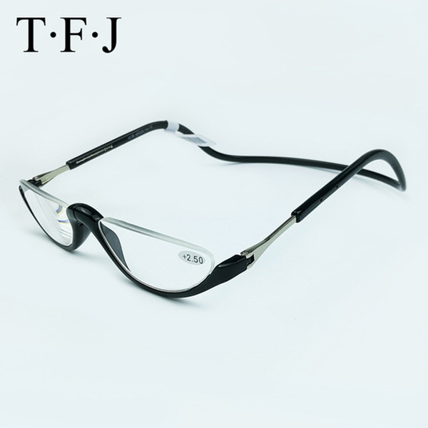 Unisex-Lesebrille, halbrandlos, magnetisch faltbar +1,0 1,5 2,0 2,5 3,0 Verstellbarer Hals, hängende Brille, Kunststoffmagnet C19042001