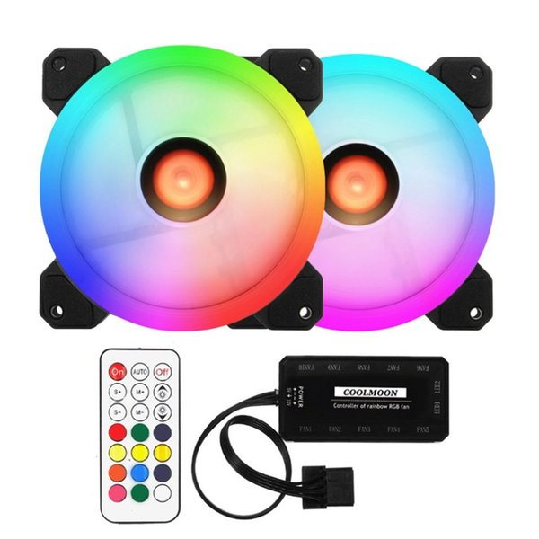 RGB Case Cooling Fan 12CM Round Shape Desktop Chassis Water Cooling Fan Colorful PC Computer Cooler RGB controller