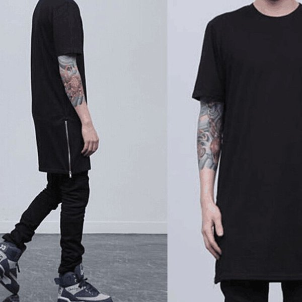 new arrival men long t shirt hip hop streetwear both side zipper short sleeve shirt skateboard swag clothes tshirt homme