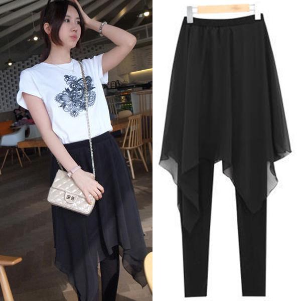 Korea Chiffon Skinny Leggings Asymmetrical Skirt Plus Size 3xl 4xl,elastic Waist Good Stretch Boho Deporte Women Legging C19041001