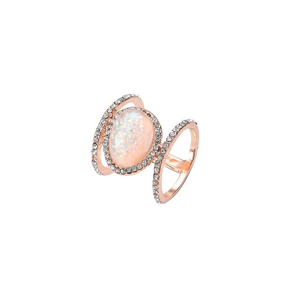 Retro Bohemian Large Hollow Out Zircon Gemstone Opal Solitaire Rings for Lady Girls Engagement Wedding Party Rose Gold Silver Color