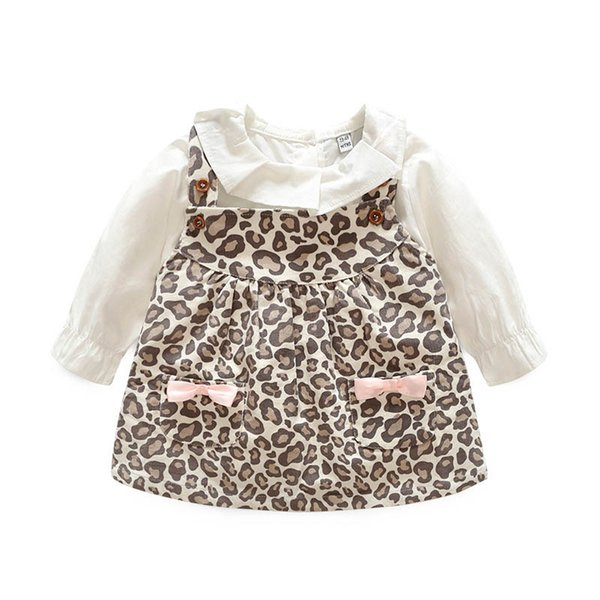 Cotton long sleeve Baby Girl Clothes Infant Outfits White shirt+leopard print suspender skirt 2pcs set Baby Suit toddler girl clothes A2646