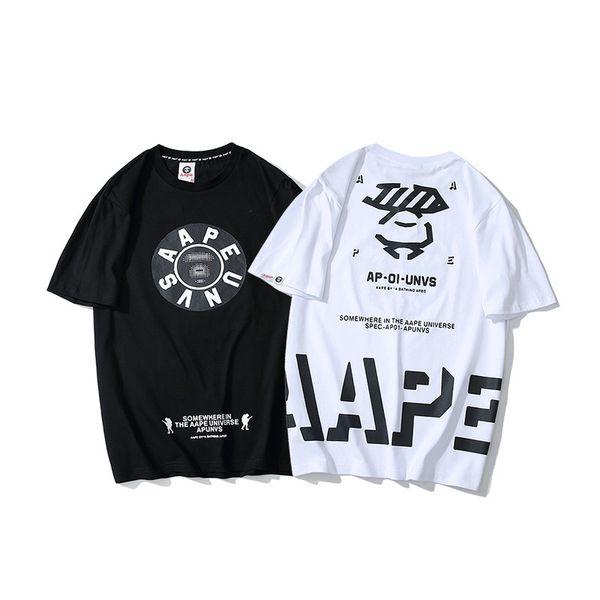 19 Yaz Gelgit Kartı erkek Giyim Bahar Yaz Yuvarlak Baskı Arkasında Kişilik Mektup Kısa Kollu T T-shirt