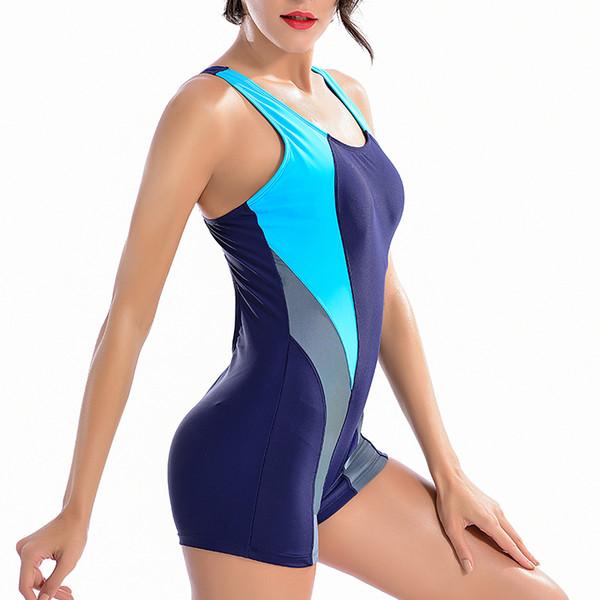 Sexy Barato Vintage Marca Solid Racer Patchwork Pantalones Cortos Largos Sporty Girl One Piece Wire Free Women Swimwear 2018 Nuevo traje de baño Y19052702