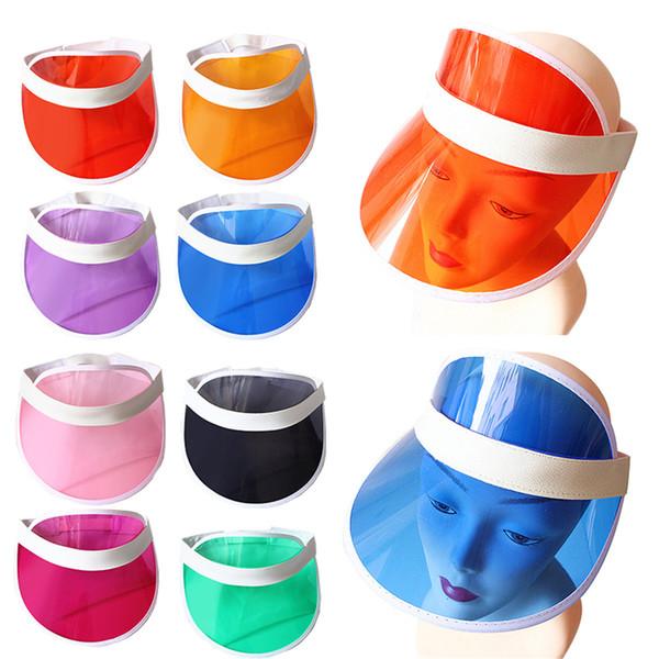2019 New Summer Unisex Women Men Sun Hat Candy Color Transparent Empty Top Plastic PVC Sunshade Hat Visor Caps Bicycle Sunhat