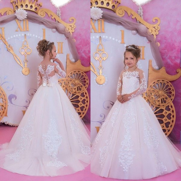 2019 Birthday Gown Costume in Shoulder Handmade Flower Tiered Pageant Dress Lovely Ball Gown Flower Girl Dress