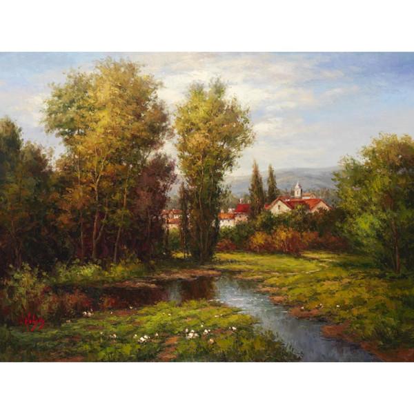Pintados à mão Belas paisagens mediterrânicas obras de arte pinturas a óleo Italian River Bend office decor