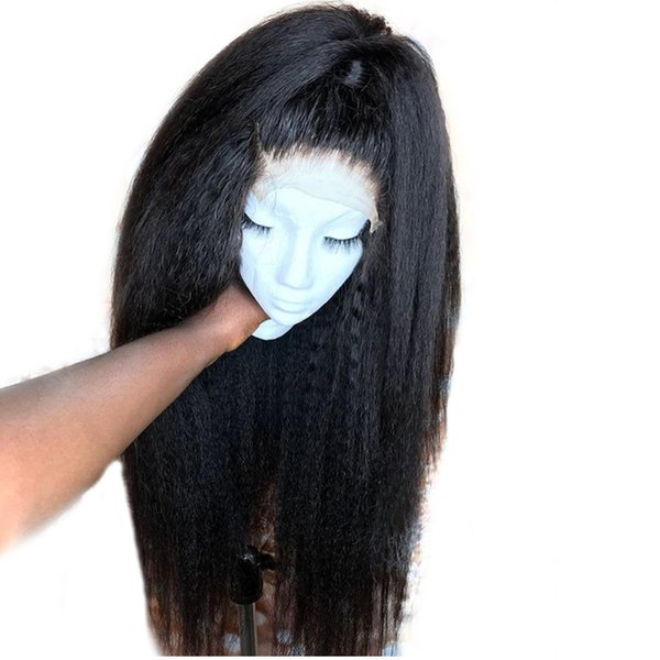 Free Part Kinky Straight Lace Front Wig Brazilian Virgin Human Hair Full Lace Wigs for Women Natural Color