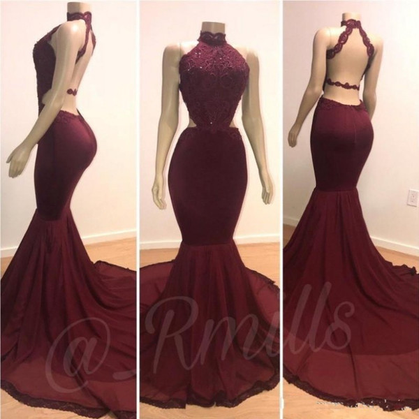 2019 Cheap Halter Mermaid Long Burgundy Prom Dresses Party Wear Lace Applique Beaded Backless Sweep Train Plus Size Evening Gowns