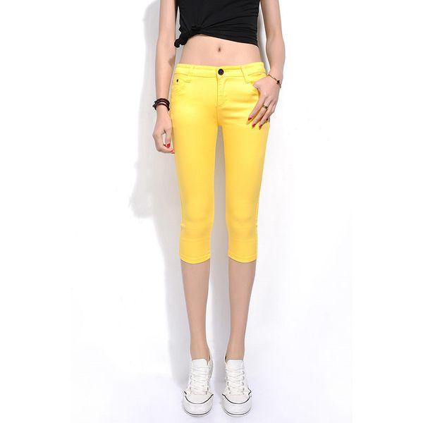 2019 Skinny Women's Capris Jeans Pants Female Knee Length Stretch Slim Capri Jeans Women Candy Color Summer Denim Shorts