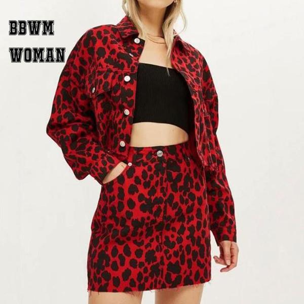Kırmızı Leopar Baskılı Bayanlar Bahar Kadın Ceket Genç Moda Kız Kadın Vintage Ceket Kaban ZO1494