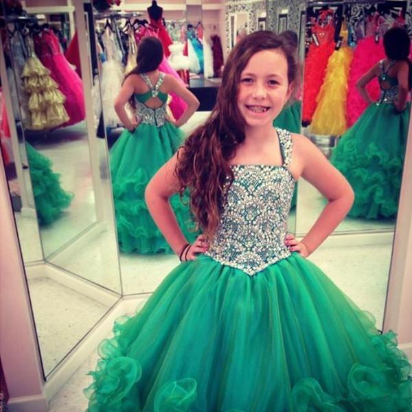 Petit concours de beauté pour enfants robes fille avec perles Paillettes Halter Neck Backless Luxury Birthday Party Princesse Robes petites filles pageant