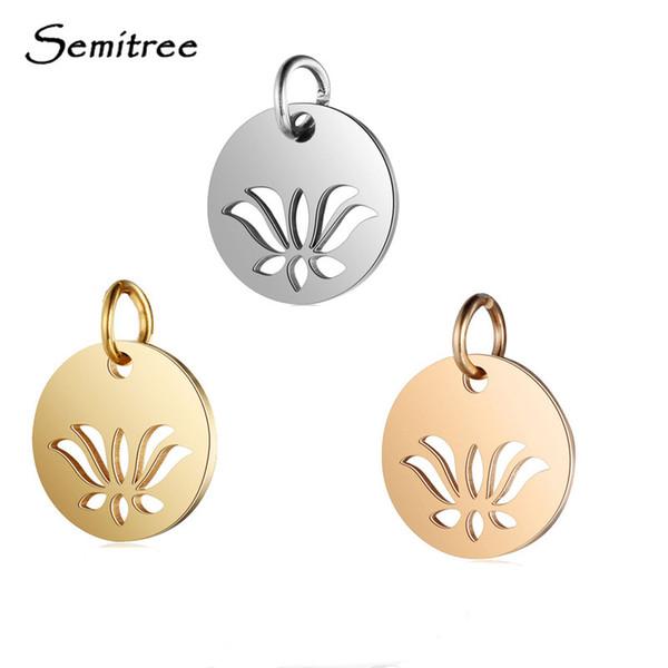 Semitree 5 stücke Edelstahl Lotus Charms Anhänger DIY Charm Halskette Armband Schmuckherstellung Zubehör Handgefertigte Lieferungen