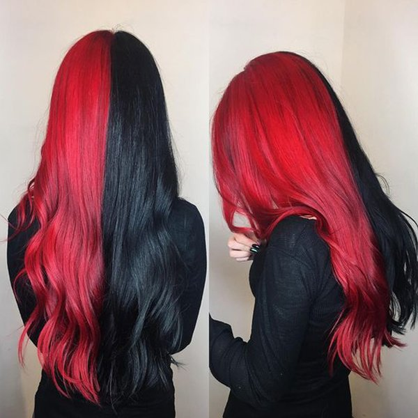 Uniqueme Half Black Half Red Color Lace Front Wig Synthetic Hair Heat Resistant Fiber Long Wavy Wigs For Women Cosplay Or Party