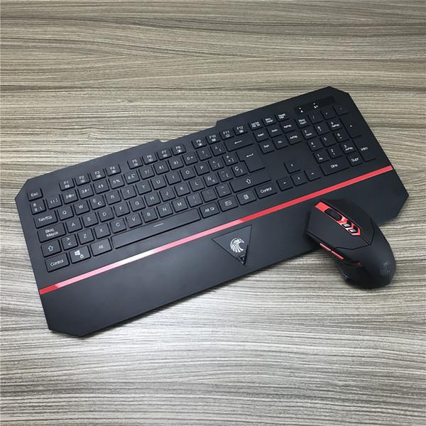 Tastiera senza fili spagnola Mouse Gamer Gaming Set Kit Combo 2.4g polso da polso sottile per computer desktop notebook da ufficio digitando T190624