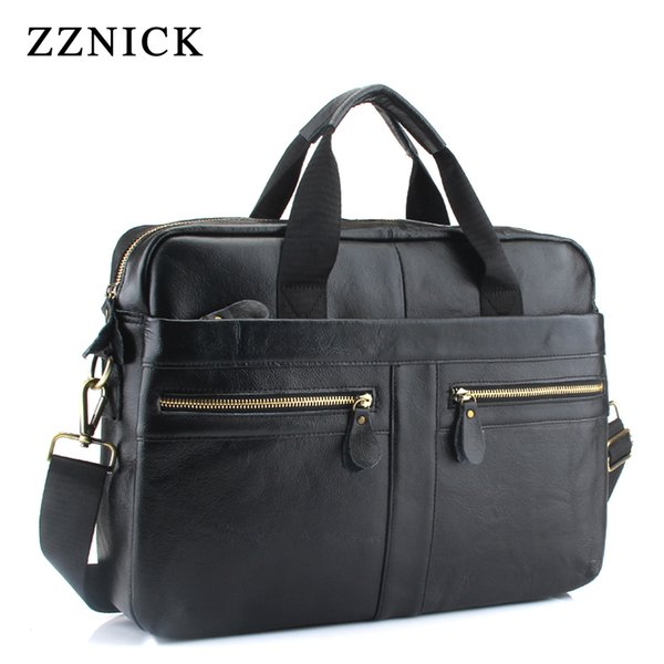 ZZNICK New men's 100%Genuine leather large-capacity briefcase men's fashion shoulder bag business computer bag travel
