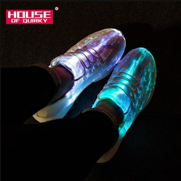 Size 25-46 Summer Led Fiber Optic Shoes for Girls Boys Men Women USB Recharge Glowing Sneakers Man Light Up Shoes Sports ShoesMX190919