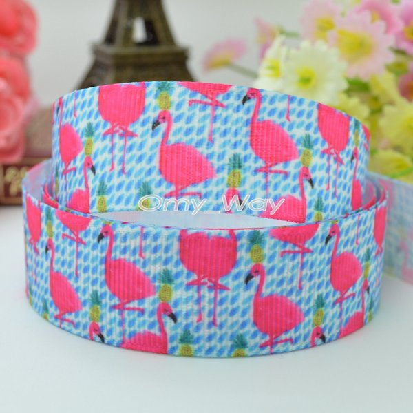"""Lilly Ribbons 7/8"""" 22mm Flamingo Printed Grosgrain Ribbon Hair Bow DIY Handmade Crafts Gift Ribbon Print 50Yards"""