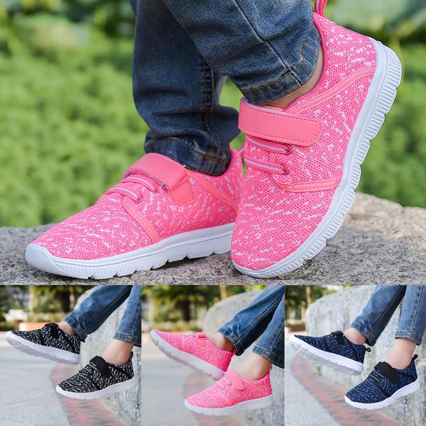 Muchachos de las niñas de los niños acoplamiento de la manera respirable cómodo de peso ligero deporte al aire libre zapatos de los zapatos ocasionales de los niños