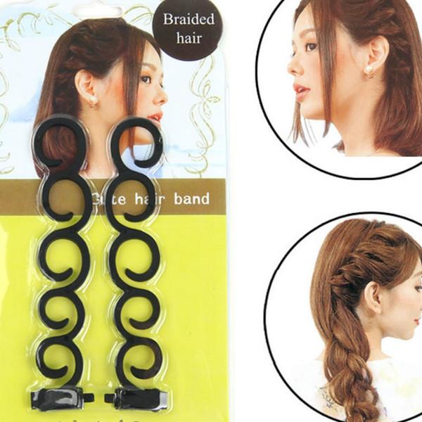2 pçs / set francês trança de cabelo ferramenta trança de cabelo torção com gancho de borda curler styling diy acessórios