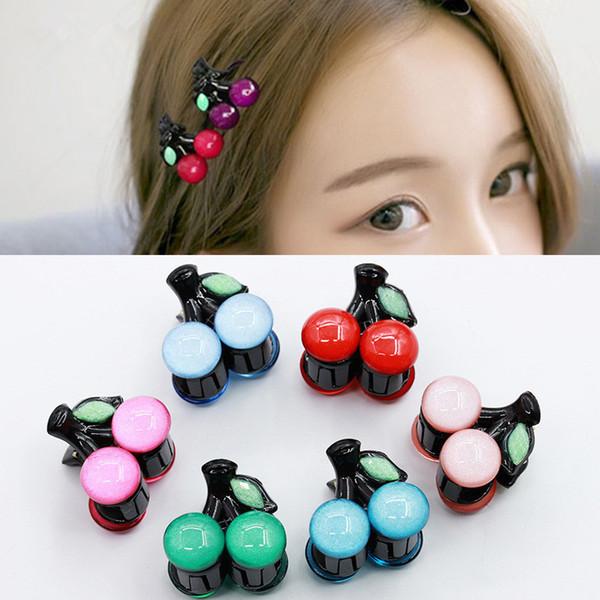 Lindo acrílico niños horquillas mujeres cereza garras del pelo Mini pasadores Kawaii pinzas para el cabello pinza niñas pequeños accesorios para el cabello