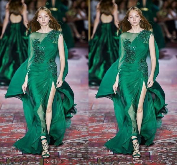 Zuhair Murad 2020 Koleksiyonu Koyu Yeşil Abiye Uzun Kollu Mürettebat Boyun Şifon Tren Biçimsel Durum Balo Olay Party Dress 108 Sweep