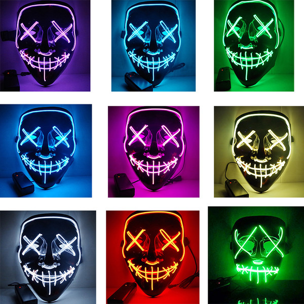 Halloween El Wire Mask Cold Light Line Ghost Horror Mask LED Party Cosplay Masquerade Street Dance Halloween Rave Toy Accessori LJJA2812