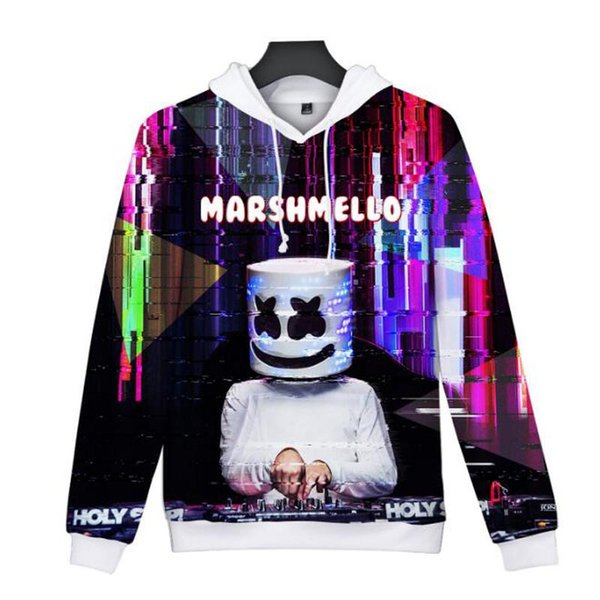 Mask 3D Pullover Sweatshirts Marshmello Männer Frauen Street Hip Hop Rapper Bboy Dancer DJ Pullover mit Kapuze Jacken-Mantel Tracksuits