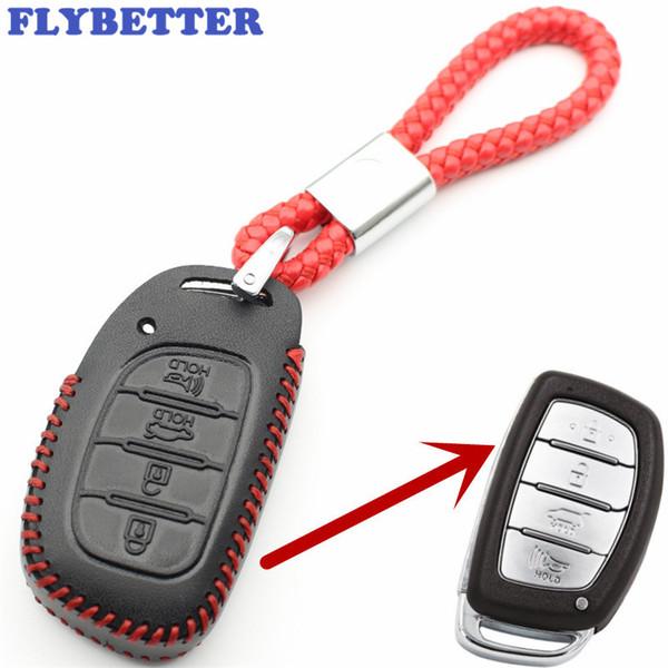 FLYBETTER Натуральная кожа 4Button Keyless Entry Умный ключ чехол для Hyundai IX25 / IX35 / Elantra / Sonata / I40 L109