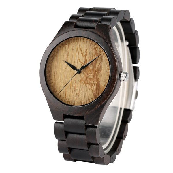 Unique Deer Head Pattern Wooden Watch for Teens Exquisite Quartz Wood Watches for Male Fashionable Artistic Watch Gift Boy