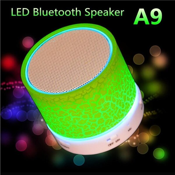 1PCS good quality Mini Bluetooth Speaker A9 LED Lamp Subwoofer Wireless Portable Speaker Stereo HiFi Player for IOS Android Phone Women gift