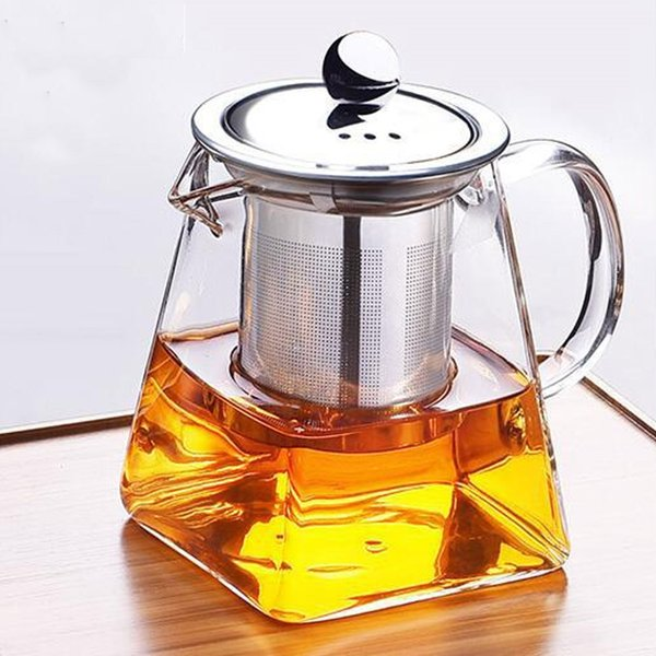 top popular 50ml 550ml 750ml Glass Sqaure Teapot High Temperature Resistant Loose Leaf Flower Tea Coffee Pot w Infuser Strainer Lid 2021