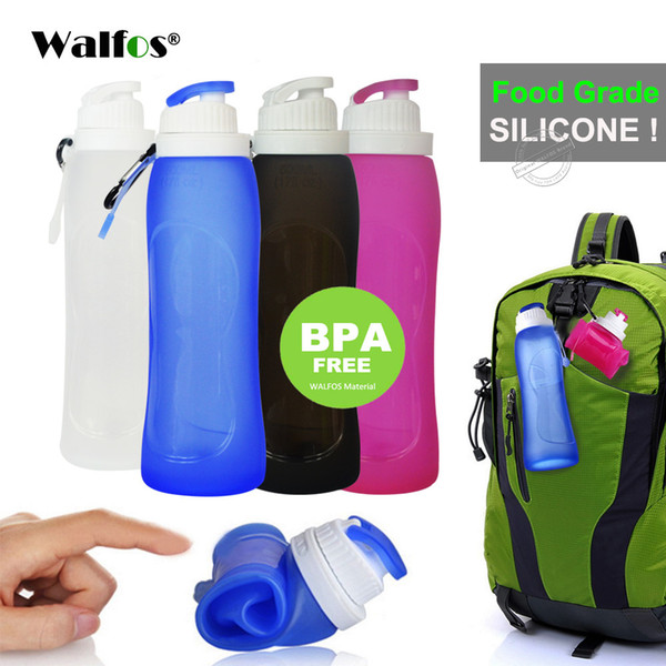 Walfos Food Grade 500ml Creative Collapsible Foldable Silicone Drink Sport Water Bottle Camping Travel Plastic Bicycle Bottle C19041601