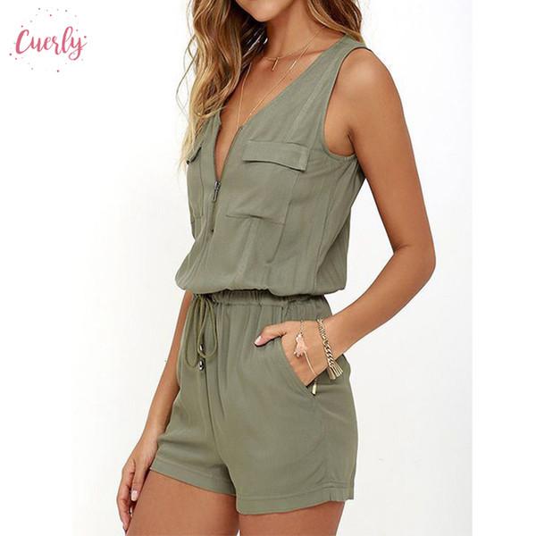 Zipper Summer Beach Rompers женщины Комбинезон Front 2019 рукава Sexy Bodysuit Slim Fit игровой одежда Твердых Комбинезоны плюс размер S Xl