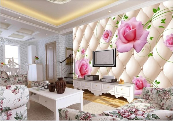3d wallpaper custom photo mural Living room 3D imitation soft bag rose pattern TV background wall wall art canvas pictures wall tapestry 3d