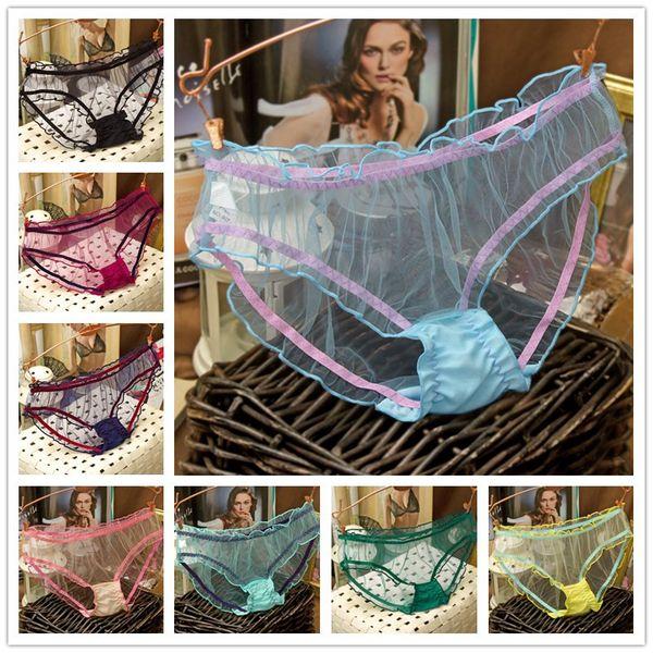 Mode Sexy Femmes Brifes Fille Gauze Dentelle CulotteTransparent Couleurs De Bonbons Pantalon String Coton Culottes Culotte Culotte Sous-Vêtements pour Femmes 6pcs cadeau