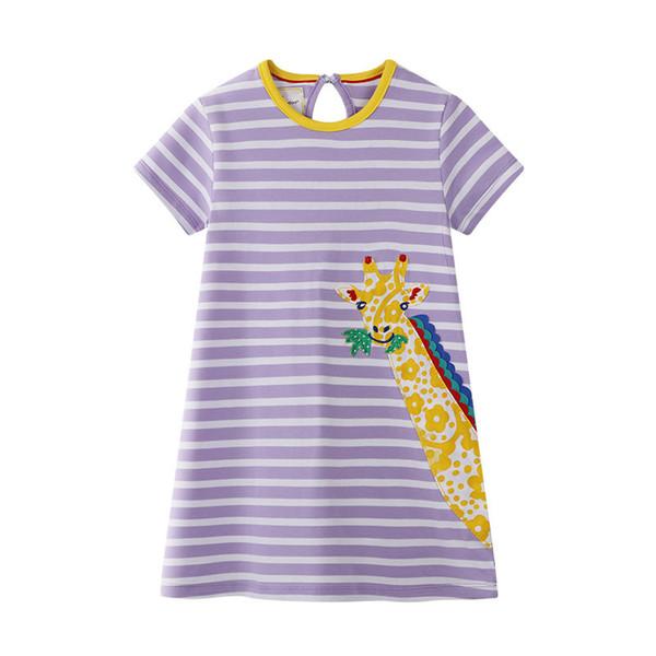 2019 Eté Bébé fille s'habille en coton Vêtements enfants Manches courtes 13 Modèles de rayures Girafe Flamingo Animaux Applique Doux