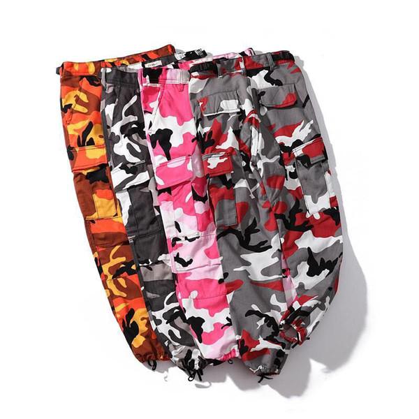 Cargo Pantaloni sportivi Streetwear Donna Uomo Giallo Arancione Pantaloni mimetici 18 Jogger Casual Army Rosso Rosa Camo Pantaloni pantaloni sportivi Y19061001